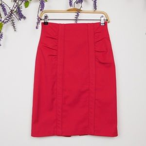 Nanette Lepore Red Ruched Pencil Skirt